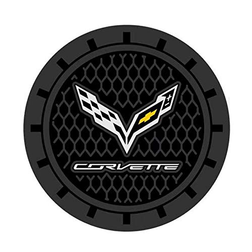 Auto sport 2.75 Inch Diameter Oval Tough Car Logo Vehicle Travel Auto Cup Holder Insert Coaster Can 2 Pcs Pack fit Corvette Accessory