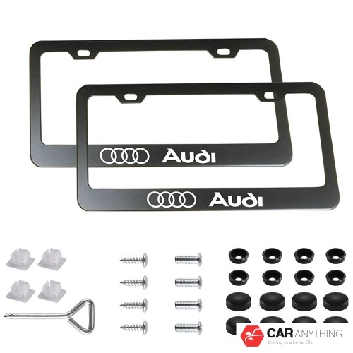 2pcs Newest Matte Aluminum Alloy License Plate Frame ,with Screw Caps Cover Set Suit,Applicable to US Standard car License Frame, for Audi