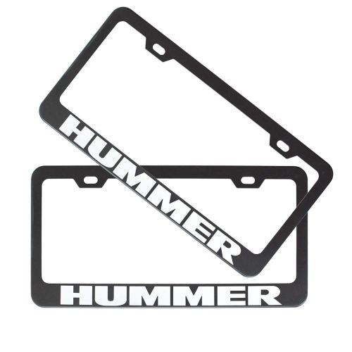 2pcs Stainless Steel License for Hummer, Plate Frame with Screw Caps Cover Set, Matte Black