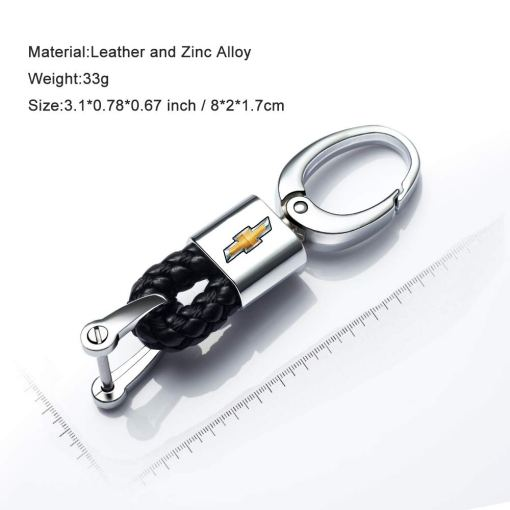 2Pack Genuine Leather Car Logo Keychain for Chevrolet Key Chain Keyring with Logo