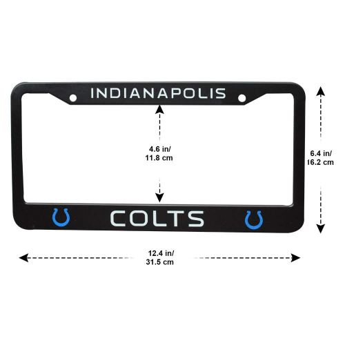 2Pcs 2 Holes Black Licenses Plates Frames for Indianapolis Colts, Car Licenses Plate Covers Holders for US Vehicles(Indianapolis Colts)