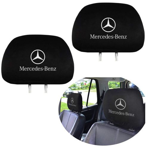 Benz Embroidered Black Gray Fabric Headrest Cover Set