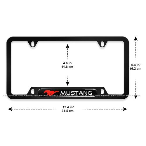 2pcs Stainless Steel License Frame with for Mustang,with Screw Caps Cover Set-Black (Mustang)