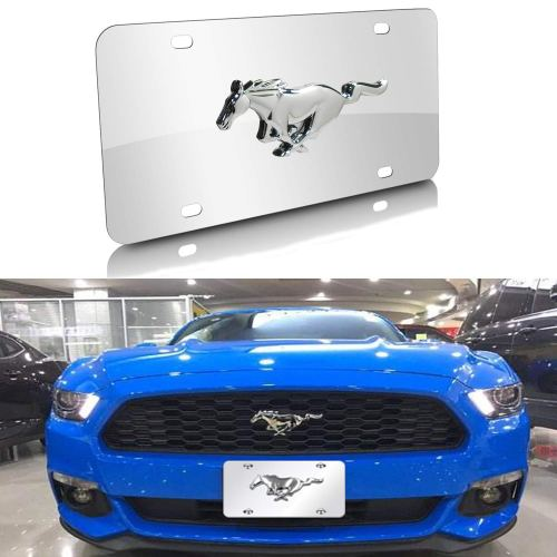Mustang 3-D Pony Silver Mirror Chrome Stainless Steel Front License Plate Cover,with Screw Caps Cover Set Suit, for Ford Mustang.