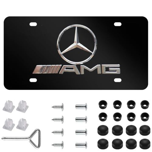 Mercedes Benz AMG 3D Logo Stainless Steel Front License Plate,with Screw Caps Cover Set Suit, for Mercedes Benz AMG.