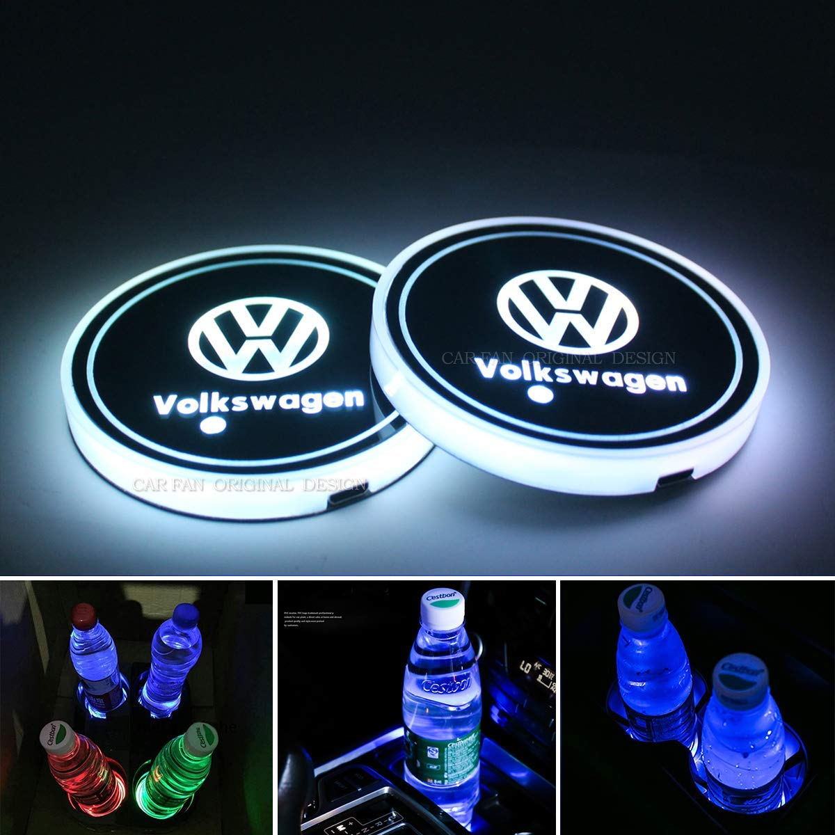 7 Colors Changing USB Charging Mat Luminescent Cup Pad 2pcs LED Car Cup Holder Lights for Alfa Romeo Alfa Romeo LED Interior Atmosphere Lamp