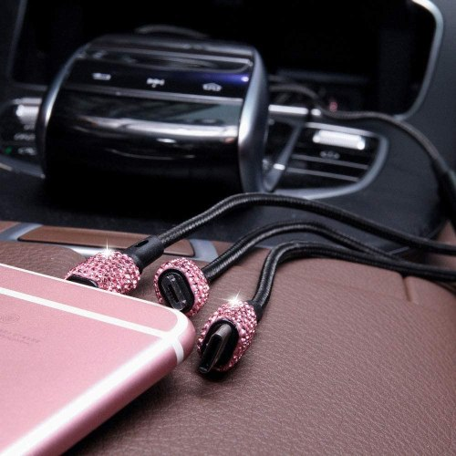 Bling USB Car Charger 5V/2.1A Pink Crystal Decoration Dual Port Fast Adapter with 3.9ft Nylon Type C/Micro USB 3-in-1 Multi Charging Cable for iPhone iPad Android, Car Interior Accessories for Women