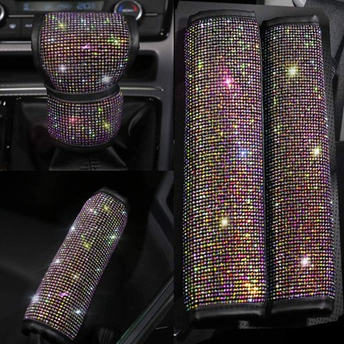 Pinbola Bling Bling Auto Seat Belt Cover & Handbrake Cover & Shift Gear Knob Cushion Luster Crystal Diamond Car Decor Accessories (4 pcs in 1 Set)