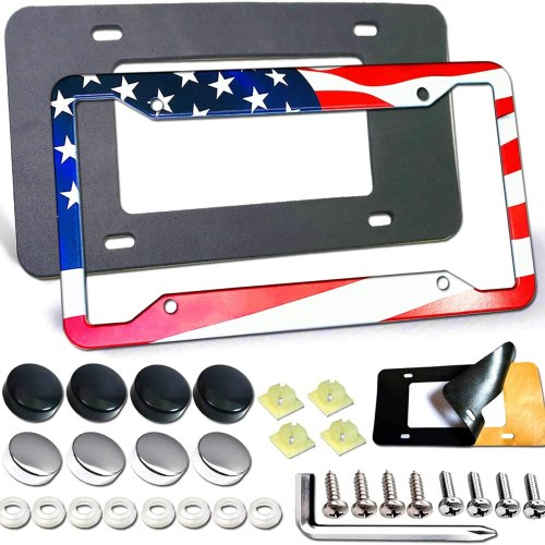 American Flag License Plate Frame - Personalized Colorful USA Stars Red White Blue Flag Aluminum Metal Plate Frame Car Tag Cover Holder Auto Car with Screw Caps, Rattle Proof Pads, 1 Pc