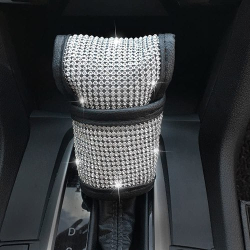 U&M Bling Bling Auto Shift Gear Cover, Luster Crystal Car Knob Gear Stick Protector Diamond Car Decor Accessories for Women