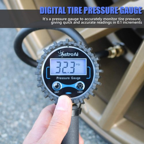 AstroAI Digital Tire Inflator with Pressure Gauge, 250 PSI Air Chuck and Compressor Accessories Heavy Duty with Rubber Hose and Quick Connect Coupler for 0.1 Display Resolution
