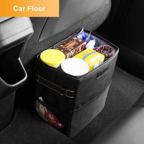 BOLTLINK Car Trash Can with Lid, Car Trash Bag Hanging for Headrest with 3 Storage Pockets, Portable Car Accessories Organizer for Women,with Leak-Proof Vinyl Inside Lining