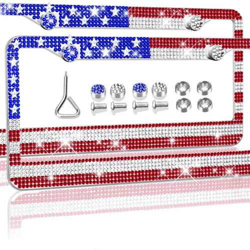 USA Flag License Plate Frames - 2 Pack Bedazzled Bling Rhinestone License Plate Frame For Patriot - Tricolor Glitter Handmade Diamond Holder, Crystal Anti-Theft Screw Cap, 3D American Flag - With Box
