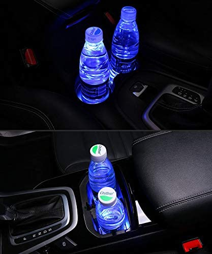License plate frameX 2pcs NY Cup Holder Lights, 7 Colors Changing USB Charging Mat Luminescent Cup Pad, LED Interior Atmosphere Lamp