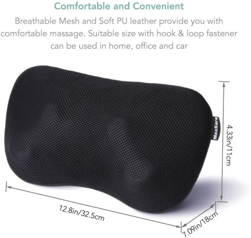 Shiatsu Massage Pillow Neck Massager with Heat Deep Tissue Kneading Massage for Back Neck Shoulder Muscle Pain Relief, Gift for Relaxation in Car, Home and Office