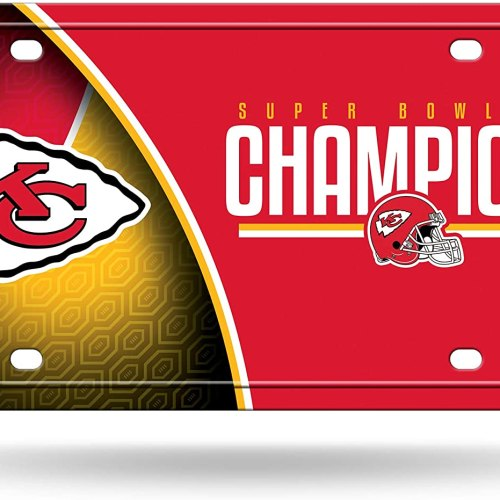 NFL Rico Industries LIV Metal License Plate Tag, Super Bowl Champion LIV - Kansas City Chiefs
