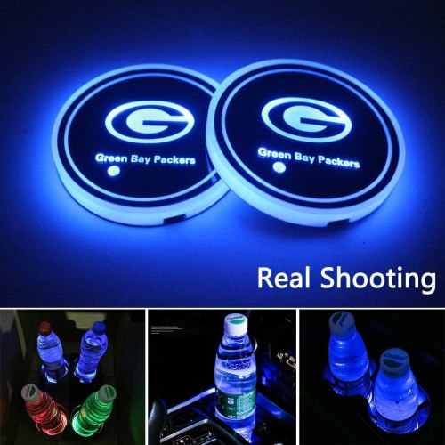 2pcs LED Car Cup Holder Lights for Green Bay Packers, 7 Colors Changing USB Charging Mat Luminescent Cup Pad, LED Interior Atmosphere Lamp, We are The Most Loyal Fans