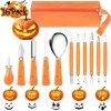 Pumpkin Carving Tools Kit, 16PCS Stainless Steel Professional Pumpkin Carving Kit with Stencils for Kids Adults Pumpkin Carving Tools Includes Double-side Sculpting Saw, Easily Carve Jack-O-Lanterns