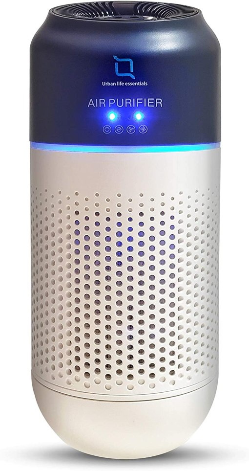 Urban life essentials Air Purifier, Mini Portable HEPA Air Cleaner with Activated Carbon Filters for Vehicles Home Bedroom Office, Hand Gesture Operated, Low Noise and USB Powered