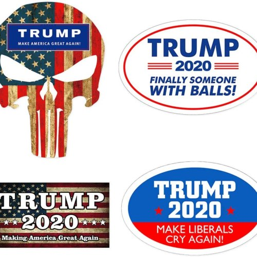 HNHUAMING 4Pcs Donald Trump 2020 President Election Patriotic Bumper Sticker Car Auto Decal Keep America Great Again/Make Liberals Cry Again