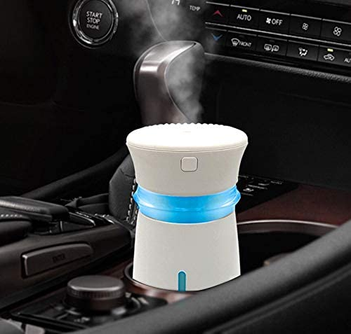 GENUIE USB Car Humidifier Diffuser, 300ML Cool Mist Potable Humidifiers Ultrasonic Home Air Refresher Purifier with 7 Colors LED Night Light, Quiet Operation for Travel Home Baby Office Car (White)