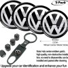 9pcs,65mm VW Emblem Badge Sticker Wheel Hub Caps Centre Cover +Tire Valve Stem Caps Cover for Volkswagen+VW Keychain (VW)