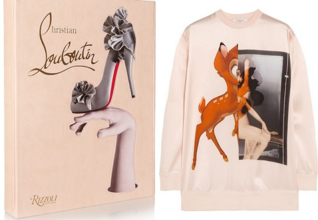 GIVENCHY, Bambi silk-satin sweatshirt, £990; RIZZOLI, Book Christian Louboutin by Christian, £85