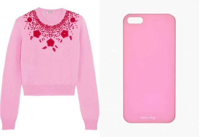 MIU MIU, Embellished cashmere sweater, £1,010; THE CASE FACTORY, IPhone 5 Case, £20