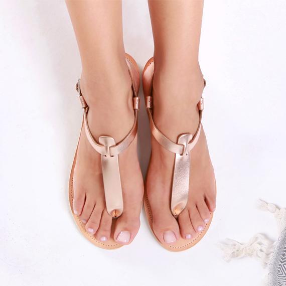 Sandales en cuir Or Rose SAVOPOULOS