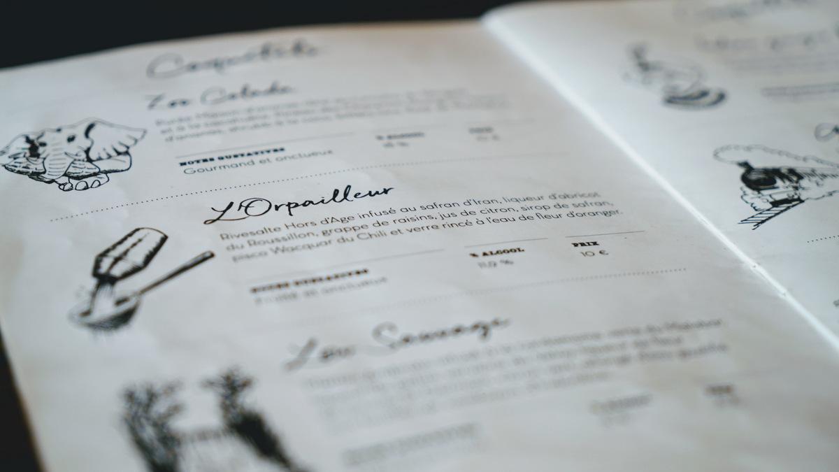 carte des cocktails sauvage coquetels lyon 7 guillotiere