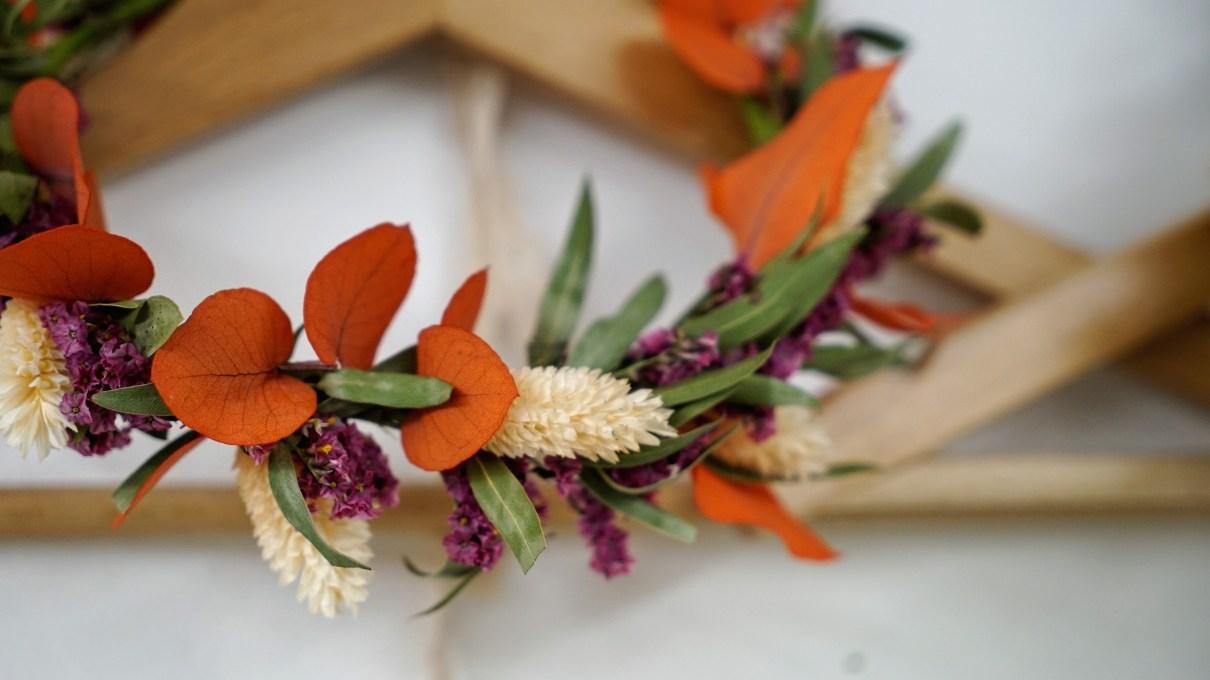 couronne de fleurs séchées pimpantes lyon