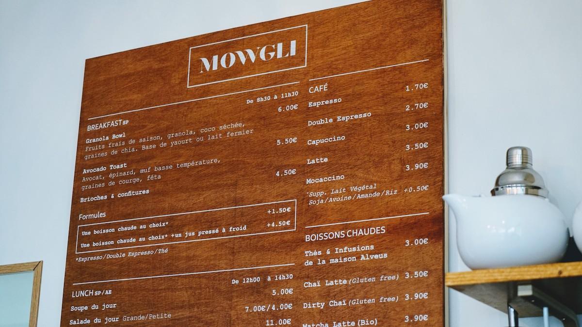 menu restaurant mowgli cafe