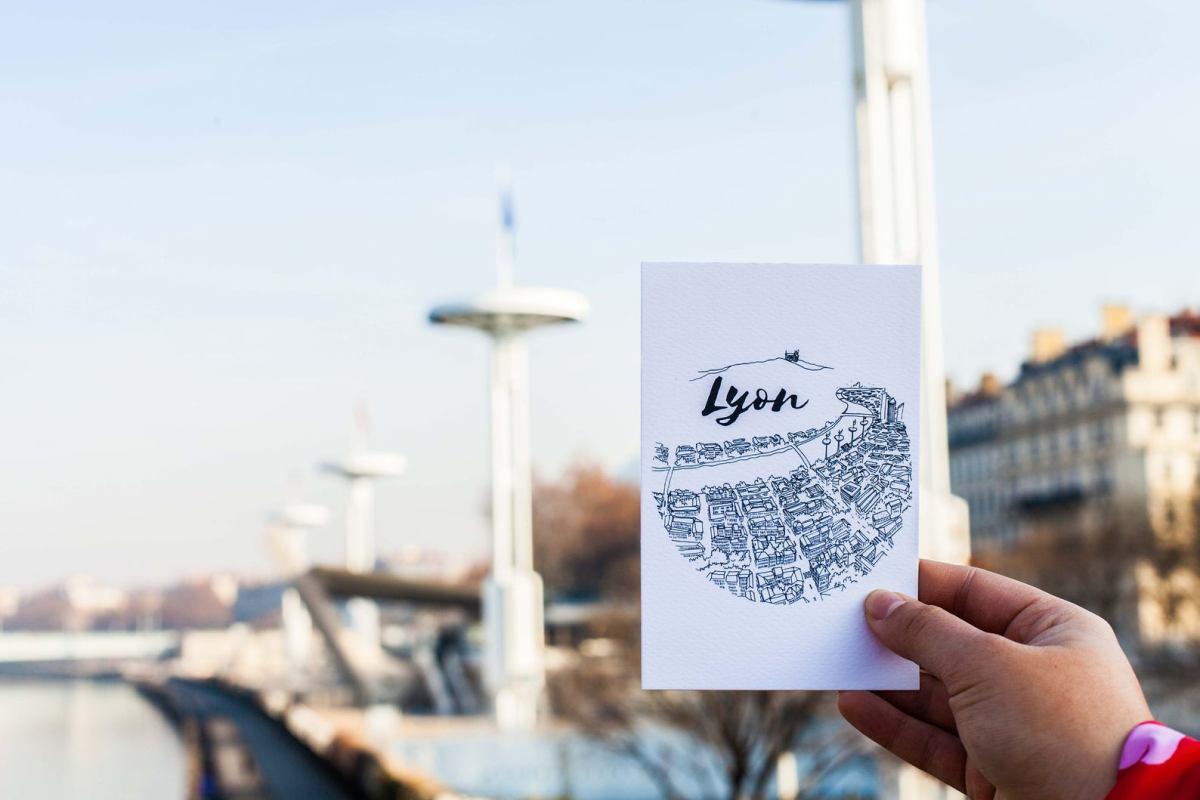 carte postale de lyon