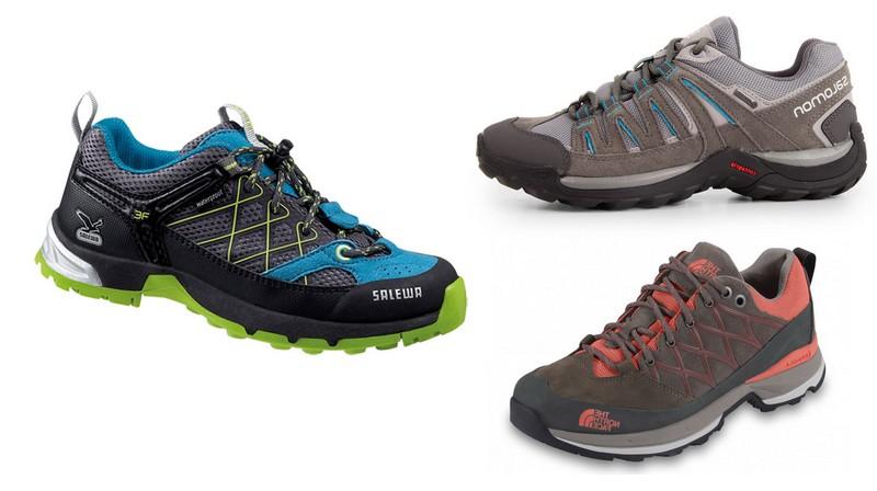 ici quelques exemples de tiges basses en haut a droite chez salomon une petite chaussure souple et legere pour la petite randonnee en bas a droite