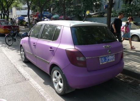 Spotted in China: Skoda Fabia in matte-purple