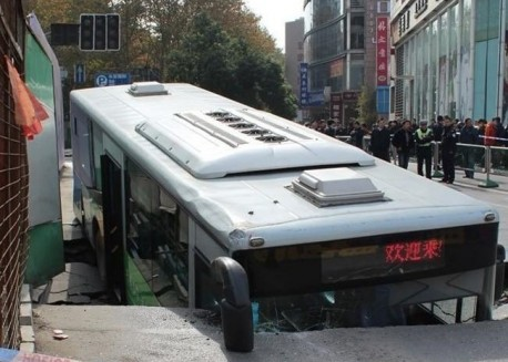 Bus hits Through the Road in China