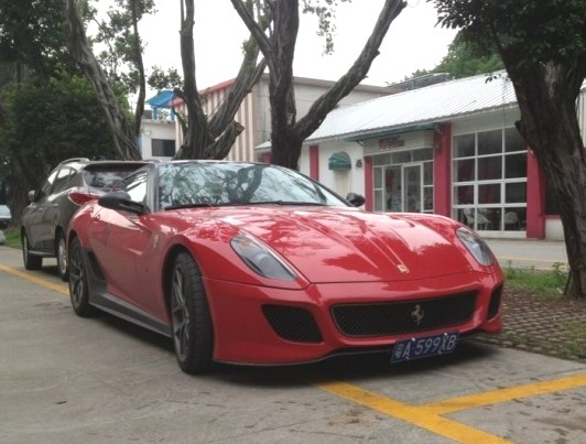 an incredible fast ferrari 599 gto seen in an upscale suburb of the great city of guangzhou in guangdong province the vehicle is painted in red matte - Matte Black Ferrari 599