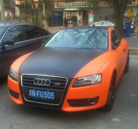 Audi S5 Coupe is matte orange & matte black in China