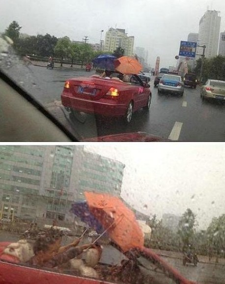Mercedes CLK Convertible malfunctions in the Rain in China