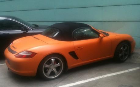 Porsche Boxster is matte orange in China