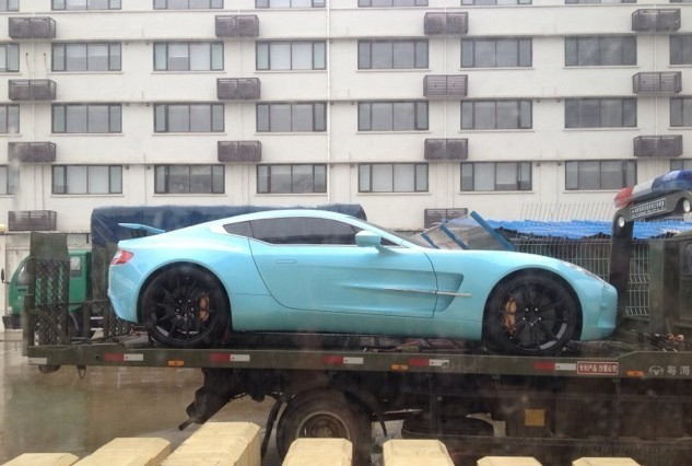aston martin one 77 green. aston martin one77 on a truck in china one 77 green