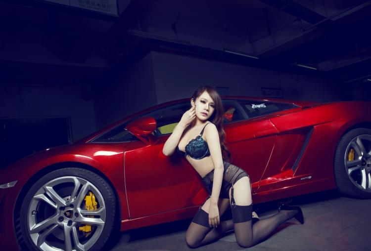 Sweet Chinese Girl Heats Up A Shiny Red Lamborghini Gallardo