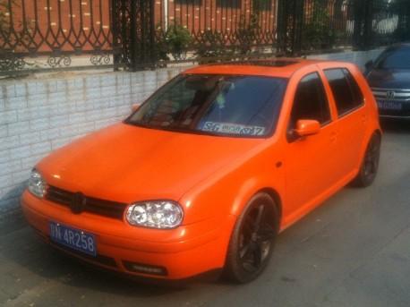 Volkswagen Golf is shiny Orange in China