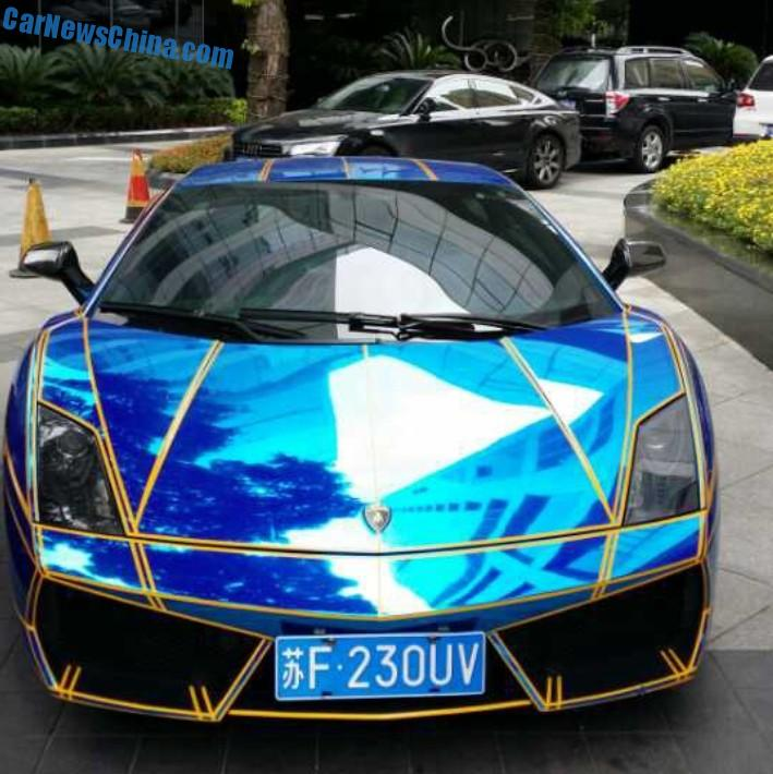 lamborghini gallardo 2014 blue. spotted in china lamborghini gallardo shiny blue with tron stripes 2014 e