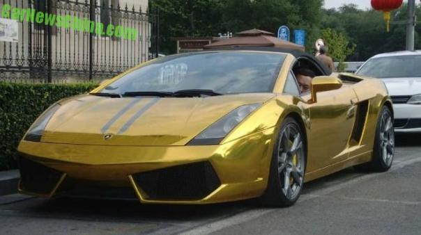 Lamborghini Gallardo Spyder is shiny gold in China