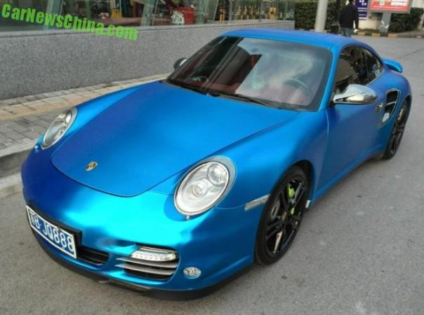 Porsche 911 Turbo is matte baby blue in China