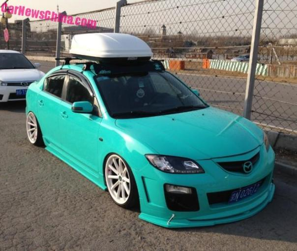 Mazda 3 sedan is a Turquoise Low Rider in China