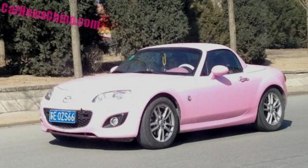 Mazda MX5 Miata is matte Pink in China