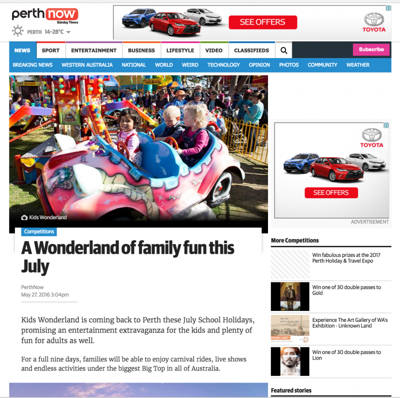 Perth Now article about Kids Wonderland