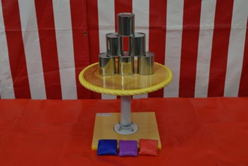 One Ball Table with Tin Cans